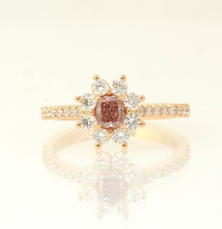 Fancy Deep Pink Radiant and White Brilliant Diamond Dress Ring, SKU 67264 (0.8Ct TW)