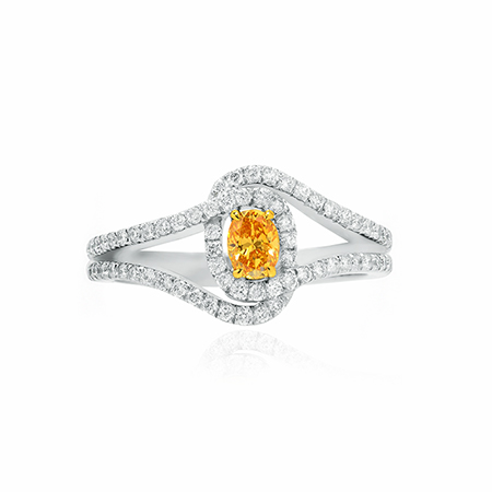Fancy Intense Yellow Orange Diamond and Gold Interwoven Cross Over Ring set in 18K Yellow and White Gold, SKU 97210 (0.34Ct TW)
