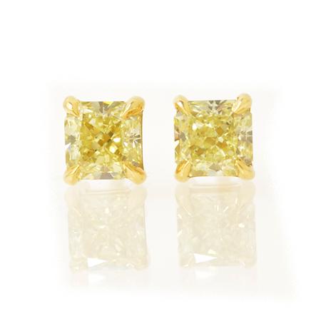 TW 1.02Ct Fancy Yellow Radiant Stud Earrings, SKU 21189 (1.02Ct)