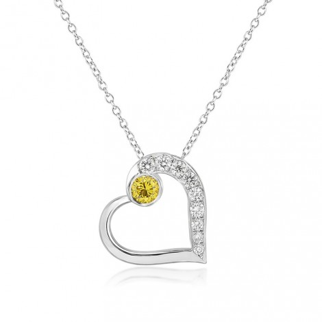 Fancy Vivid Yellow and White Pave Diamond Heart Pendant, SKU 101365 (0.22Ct TW)