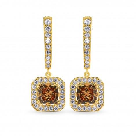 Fancy Yellow Brown Princess Diamond Drop Halo Earrings, SKU 101787 (2.74Ct TW)