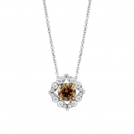 Fancy Brown Diamond Floral Halo Pendant, SKU 103541 (1.33Ct TW)