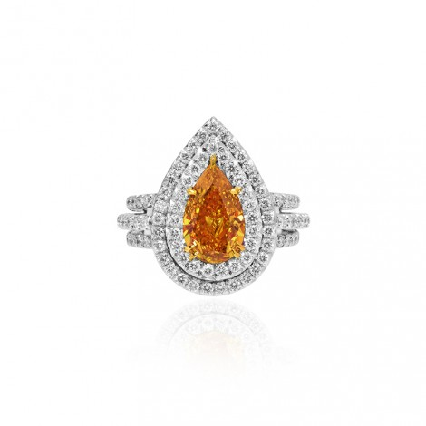 Fancy Vivid Yellow Orange Pear Diamond Double Halo Ring, SKU 105467 (2.05Ct)