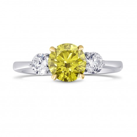 Three Stone Ring Setting with Round Side Diamonds, SKU 1123S