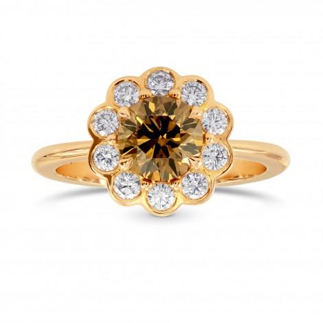 Fancy Dark Orange Brown Round Diamond Floral Halo Ring - Praline Collection, SKU 113641 (1.36Ct TW)