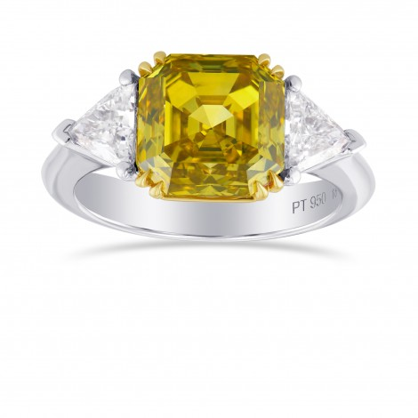 Fancy Deep Yellow Asscher Cut 3 Stone Diamond Ring, SKU 113670 (3.75Ct TW)