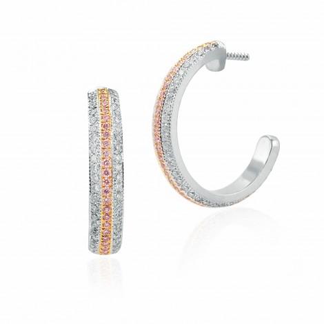 Fancy Pink Diamond Pave Hoop Earrings, ARTIKELNUMMER 115883 (1,02 Karat TW)