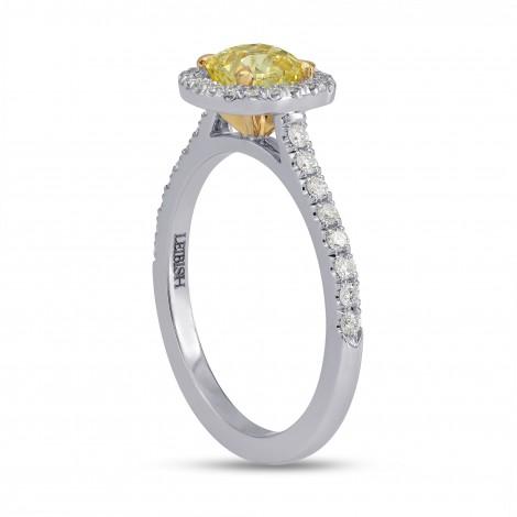 Fancy Yellow Cushion Diamond Halo Ring, SKU 121013 (1Ct TW)