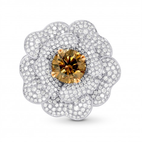 Fancy Orange Brown Diamond Pave Diamond Flower Ring, SKU 122324 (6.45Ct TW)