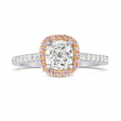 Collection White Cushion and Pink Diamond Halo Platinum Ring, SKU 122934 (1.38Ct TW)