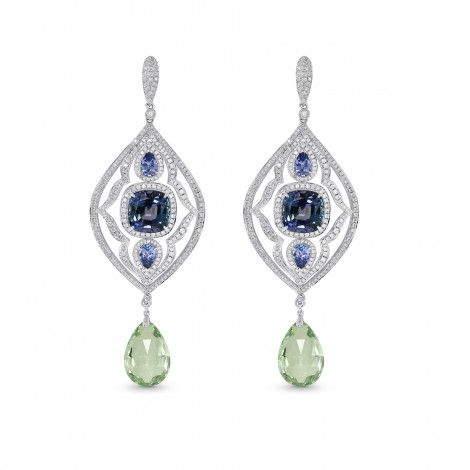 Tanzanite and Aquamarine Drop Diamond Earrings, SKU 129935 (14.25Ct TW)