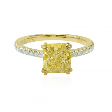 Fancy Intense Yellow Radiant Diamond and Pave Ring, SKU 132031 (2.27Ct TW)