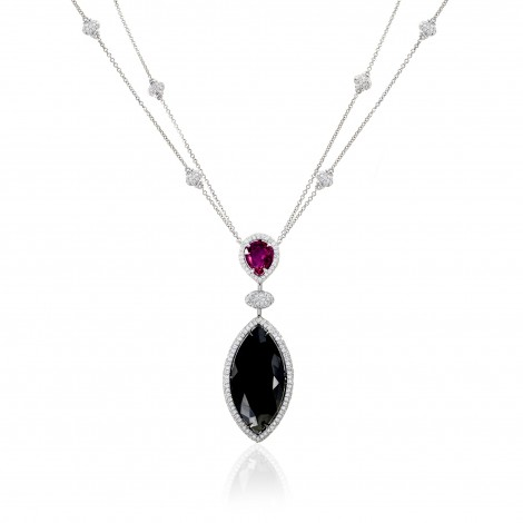 22Ct TW Marquise Black Diamond and Ruby Drop Necklace (23.14Ct TW)
