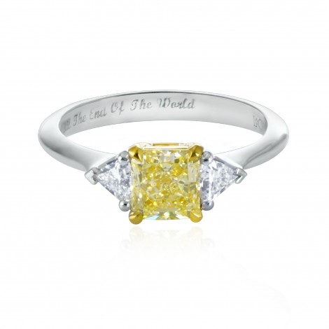 W-X Yellow Radiant Diamond Ring, SKU 134247 (1.36Ct TW)