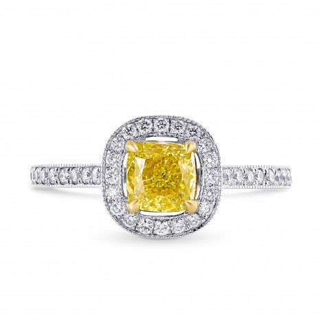 Fancy Intense Yellow Cushion Diamond Milgrain Halo Ring, SKU 134767 (1.24Ct TW)