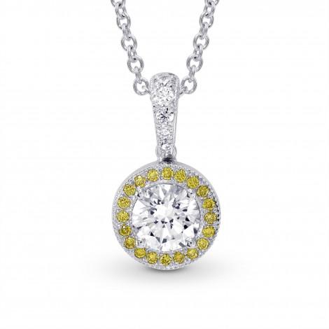 White and Fancy Intense Yellow Diamond Milgrain Halo Pendant, SKU 136024 (0.68Ct TW)