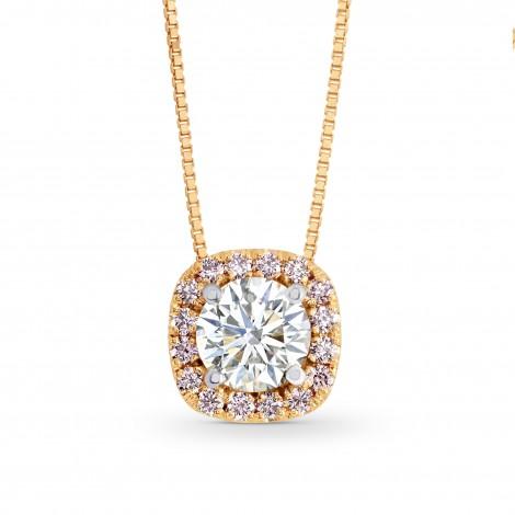 White and Pink Diamond Brilliant Halo Pendant, SKU 137942 (0.50Ct TW)