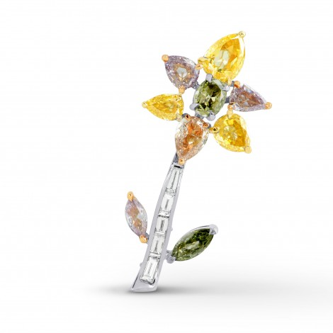 Multicolored Diamond Pin Brooch, SKU 141634 (3.11Ct TW)