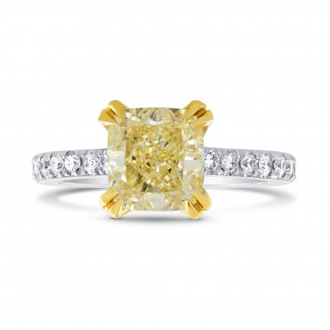 Internally Flawless Fancy Yellow Cushion Diamond Side stone Ring, ARTIKELNUMMER 143687 (2,50 Karat TW)