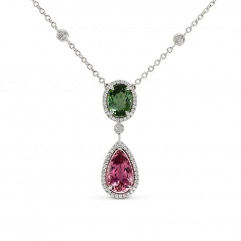 Green and Pink Tourmaline Diamond Pendant, SKU 144297 (3.9Ct TW)