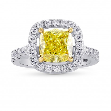 Fancy Intense Yellow Cushion Diamond Halo Ring, ARTIKELNUMMER 144778 (2,33 Karat TW)