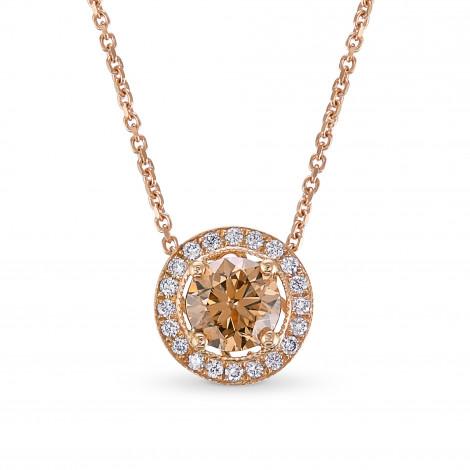 Rose Gold Fancy Brown Round Brilliant Diamond Milgrain Halo Pendant, ARTIKELNUMMER 147314 (0,83 Karat TW)