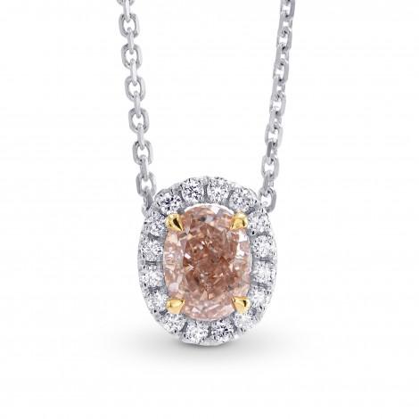 Fancy Pink Brown Oval Diamond Halo Pendant, SKU 149768 (0.75Ct TW)