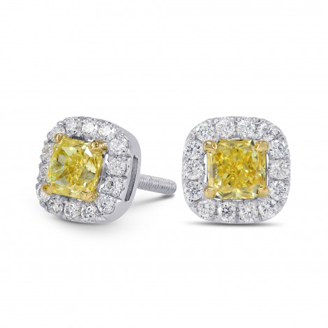 Fancy Intense Yellow Cushion Diamond Halo Earrings, SKU 150292 (0.9Ct TW)