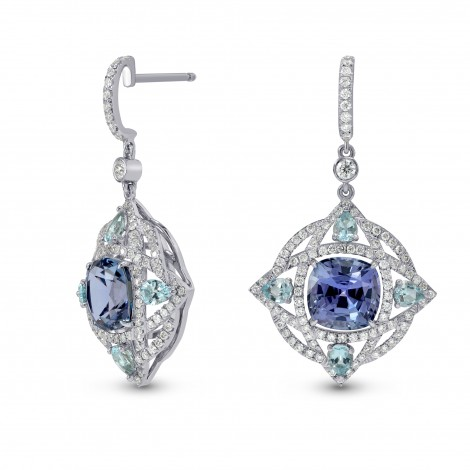 Tanzanite and Aquamarine Drop Diamond Earrings, SKU 152079 (7.48Ct TW)