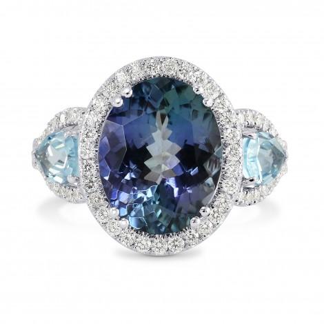 Tanzanite and Aquamarine Diamond Ring, SKU 153778 (5.34Ct TW)