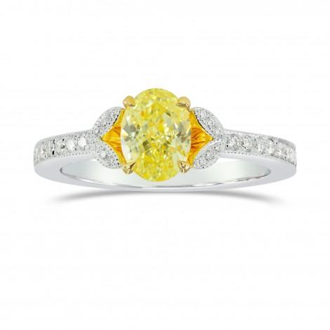Fancy Intense Yellow Oval & Pave Diamond Ring, ARTIKELNUMMER 153928 (1,28 Karat TW)