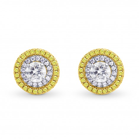 White and Fancy Intense Yellow Diamond Double Halo Earrings, SKU 156493 (1.12Ct TW)