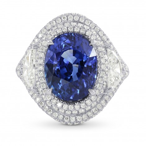 Platinum 6.66 Carat Oval Sapphire & Diamond Ring, SKU 159081 (8.23Ct TW)