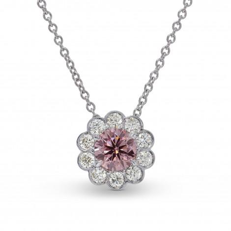 Fancy Purplish Pink Round Floral Halo Pendant, SKU 159310 (0.73Ct TW)