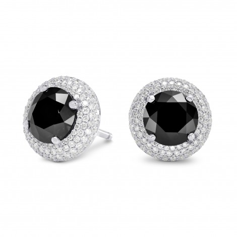 Natural Round Black Diamond Earrings, SKU 159773 (4.85Ct TW)