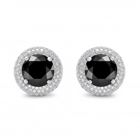 Natural Unheated Round Fancy Black Diamond Earrings, SKU 159773 (4.85Ct TW)