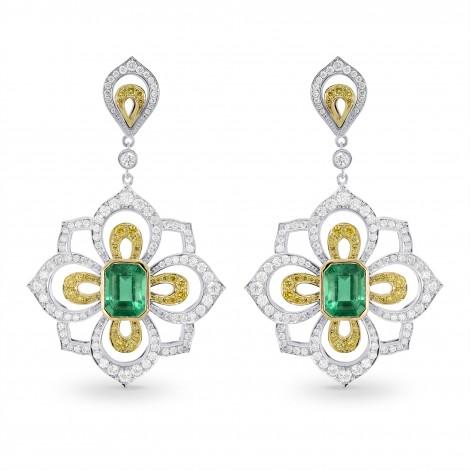 Emerald and Fancy Intense Yellow Diamond Drop Earrings, SKU 160164 (5.82Ct TW)