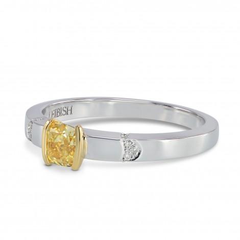 Fancy Yellow Cushion Diamond Ring, SKU 160977 (0.39Ct TW)