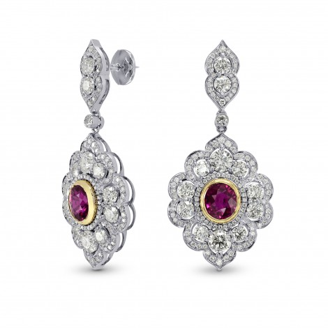 Ruby & Diamond Drop Earrings, SKU 162689 (7.19Ct TW)