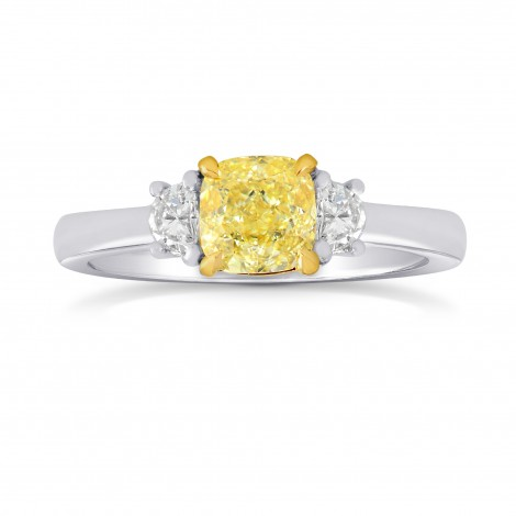 Fancy Yellow Cushion & Half-moon Diamond Ring, SKU 163491 (1.21Ct TW)