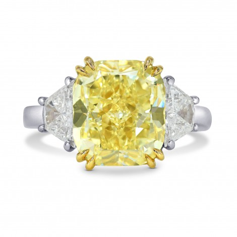 Fancy Yellow Cushion and Trapezoid Diamond Ring, SKU 163559 (6.38Ct TW)