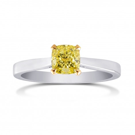 Fancy Intense Yellow Cushion Diamond Solitaire Ring, SKU 164321 (0.61Ct)