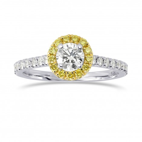 White and Fancy Intense Yellow Diamond Halo Ring, SKU 164323 (0.64Ct TW)