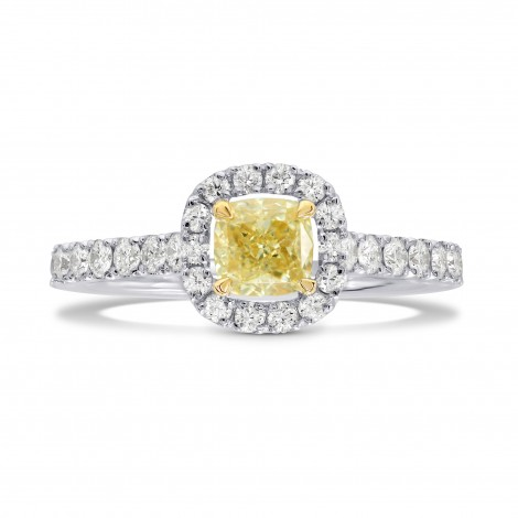 Fancy Yellow Cushion Diamond Halo Ring, SKU 165756 (0.98Ct TW)
