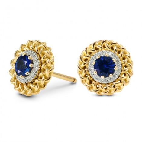 Sapphire & Diamond Designer Stud Earrings, SKU 166373 (0.51Ct TW)