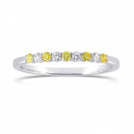 Fancy Intense Yellow and White Diamond 9 Stone Stacking Band Ring, SKU 166385 (0.18Ct TW)
