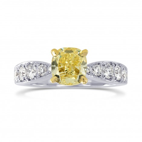 Fancy Yellow Cushion Diamond & Pave Ring, SKU 167108 (1.31Ct TW)