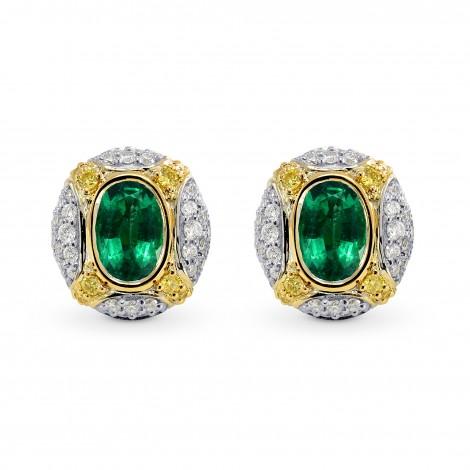 Oval Emerald and Intense Yellow Diamond Earrings, SKU 170366 (1.28Ct TW)