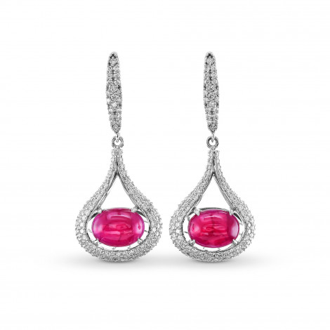 Ruby and Diamond Cabochon Drop Earrings, SKU 170588 (4.56Ct TW)