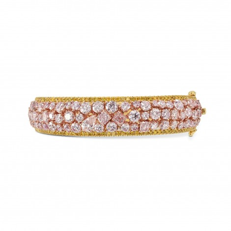 Couture Pink and Canary Yellow Diamond Bangle, SKU 170614 (14.48Ct TW)